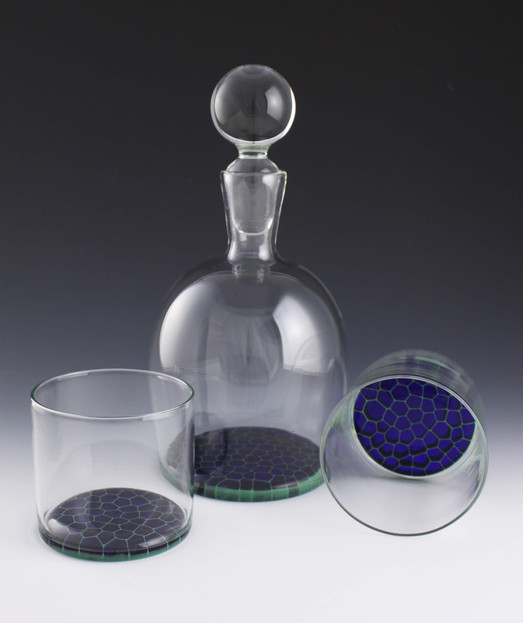 Rocks Glasses with Decanter in Blue