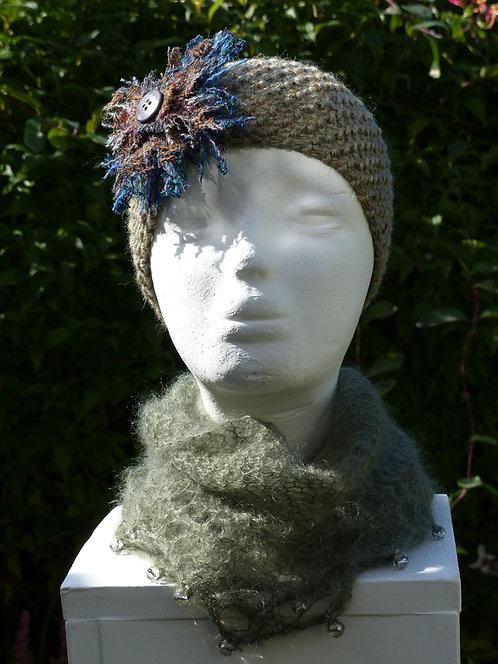 Light Green Headband with a Grey/Brown Trim