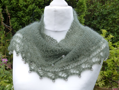 Grey and Green Kidsilk Scarf