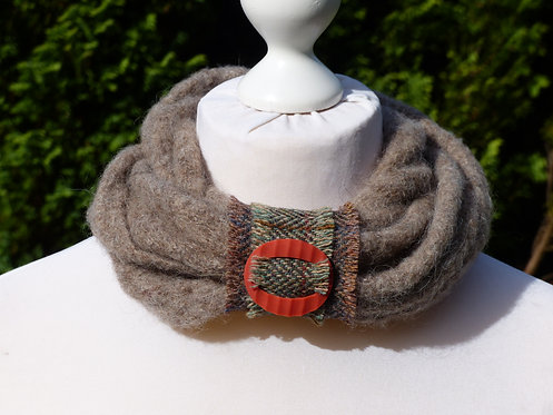 Mink Collar with Harris Tweed Fastener