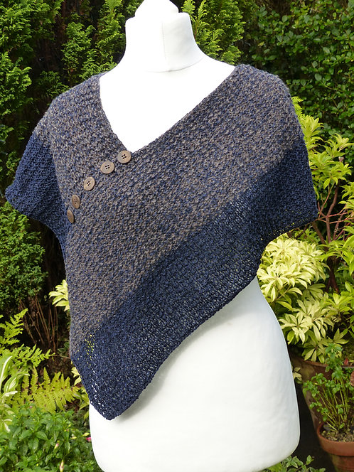 Grey and Blue Knitted Wrap with Button Trim