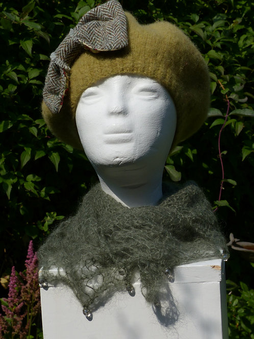 Lime Hat with a Green Bow lined with Liberty Art Fabric