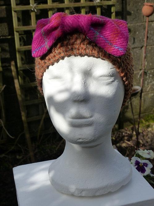 Rust Headband with Pink Harris Tweed Bow