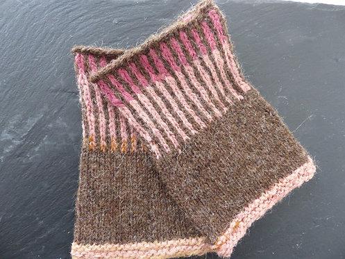Brown/Pink Wool Wristlet