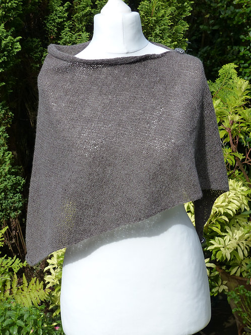 Grey Knitted Wrap with Black Harris Tweed Button Trim