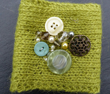 Lime Beaded Knitted Cuff