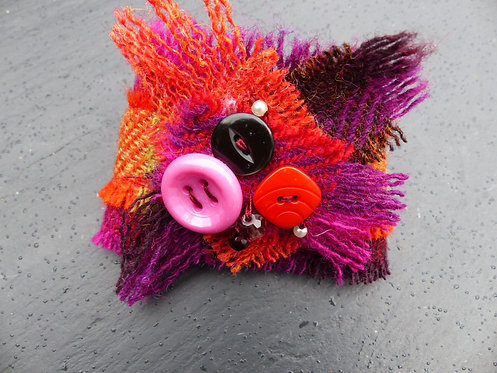 Orange and Purple Harris Tweed Cuff