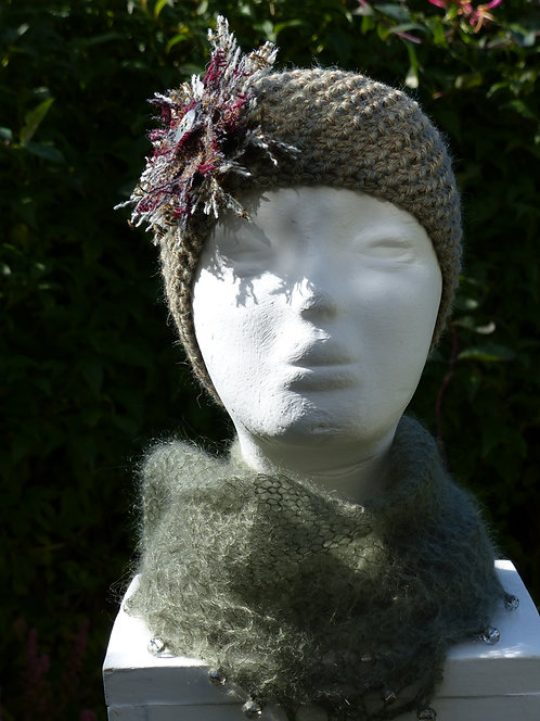 Grey/Green Headband with a Blue/Brown Trim