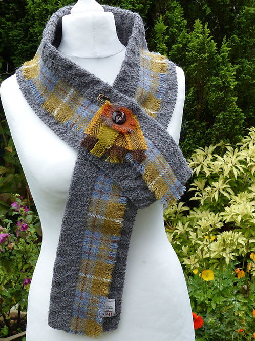 Grey/Mustard with a Blue Trim Knitted Wrap