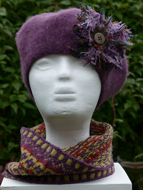 Purple Hat with a Lilac and Brown Trim