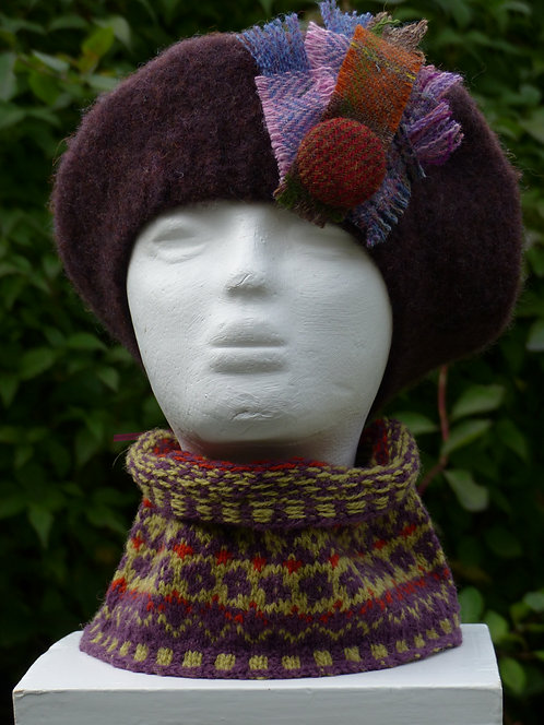 Dark Purple Hat with a Lilac and Rust Trim