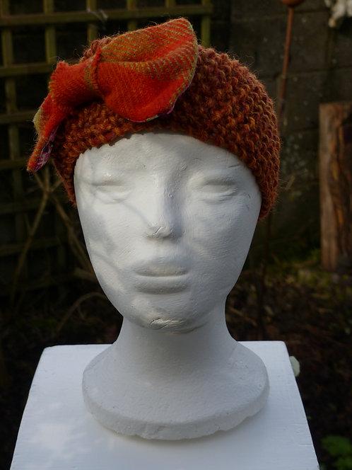 Rust Headband with Orange Harris Tweed Bow