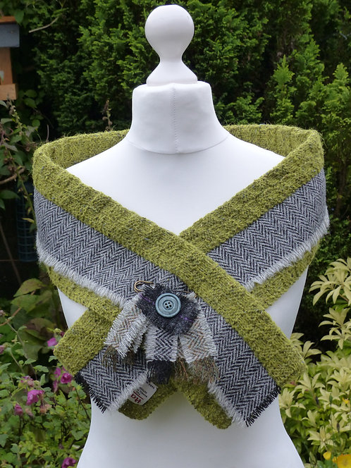 Lime/Grey Knitted Wrap