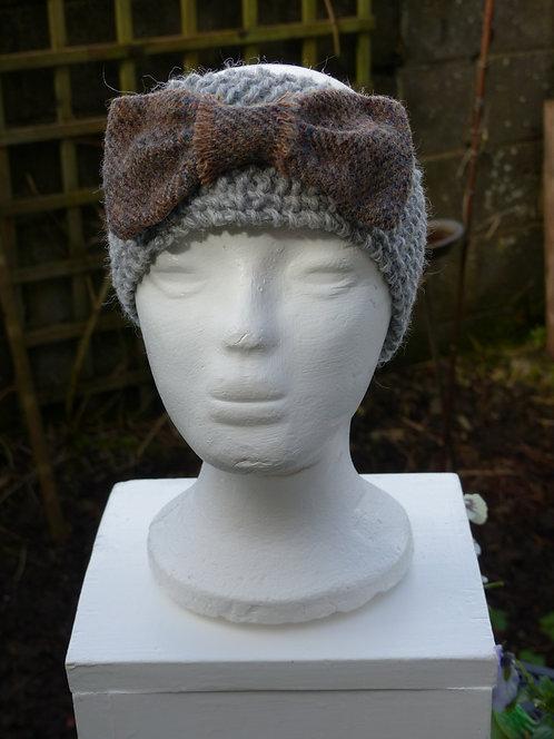 Grey Headband with Mink Harris Tweed Bow