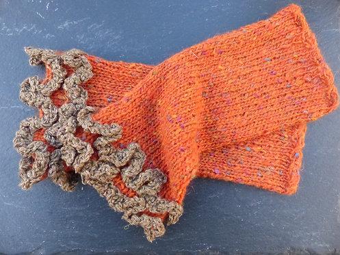 Rust with Walnut Ruffle Wrist Warmer