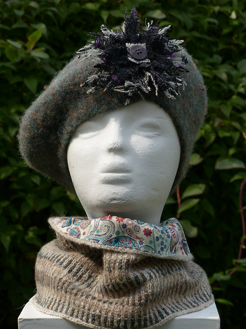 Grey and Green Hat with a Black and Grey Trim