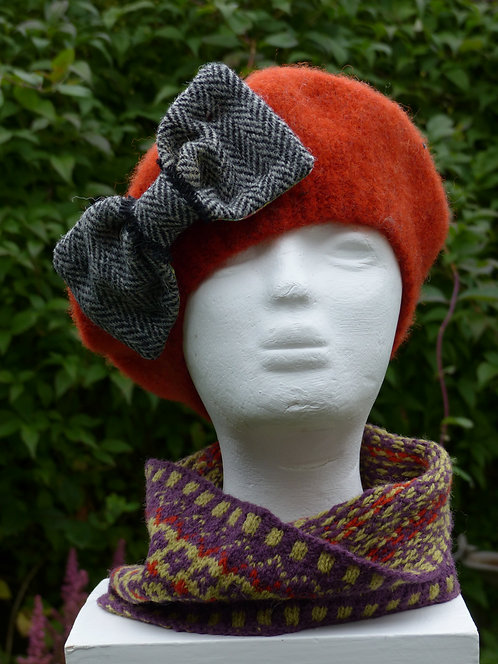 Dark Orange Hat with a Grey Bow lined with Liberty Art Fabric