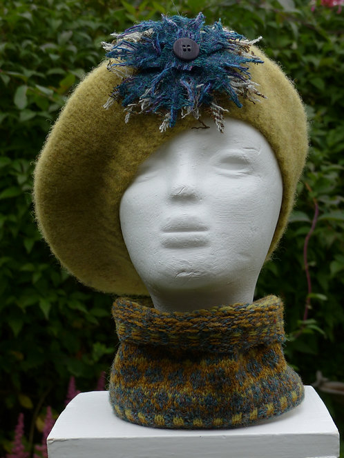 Lime Hat with a Blue and Green Trim