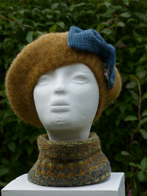Ochre Hat with a Blue Bow lined with Liberty Art Fabric