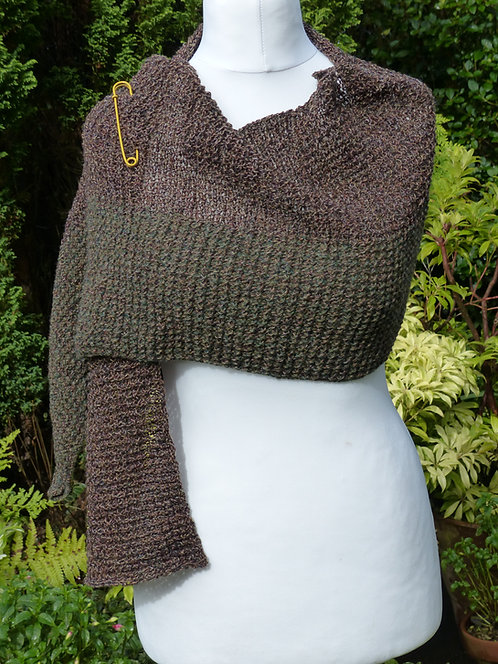 Grey and Green Long Knitted Wrap