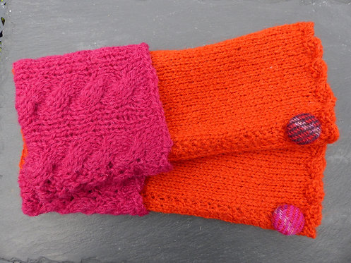 Scarlet and Pink Wrist Warmer