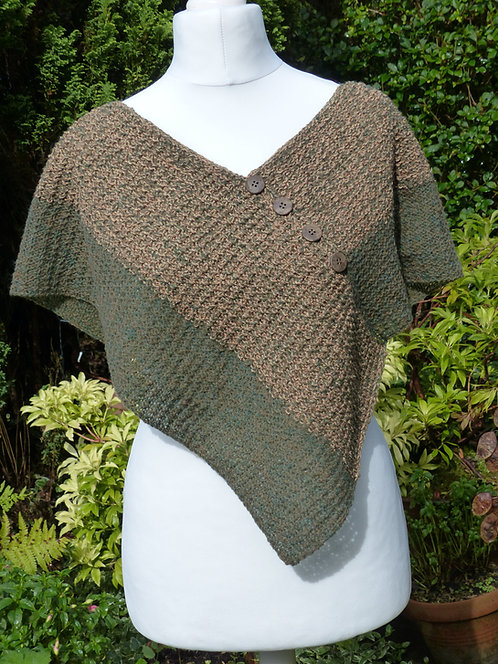 Green and Gold Knitted Wrap with Button Trim