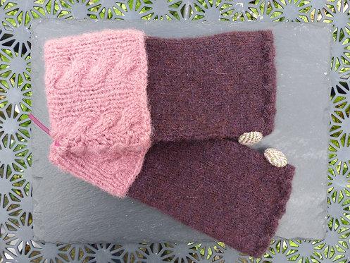 Aubergine and Pink Wrist Warmer