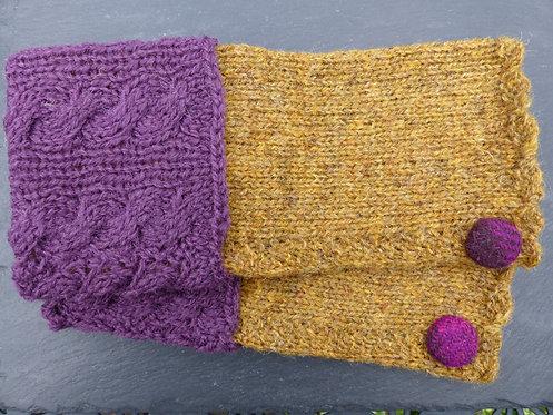 Purple and Mustard Wrist Warmer