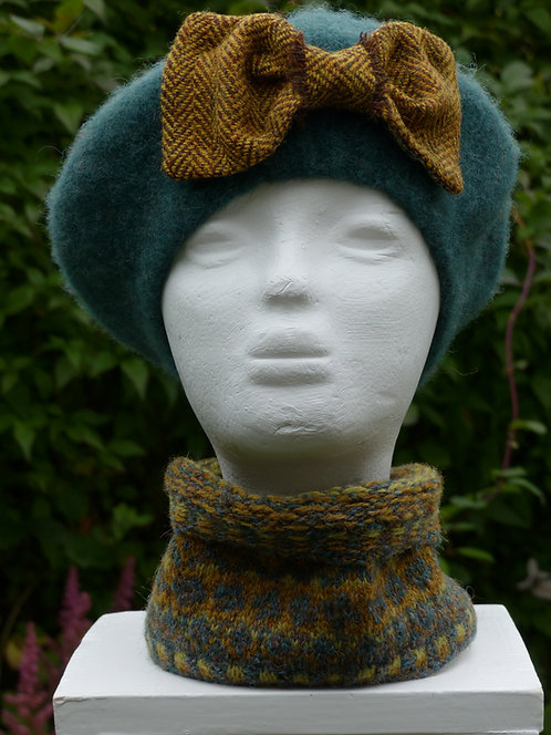 Sea Green Hat with a Mustard Bow lined with Liberty Art Fabric