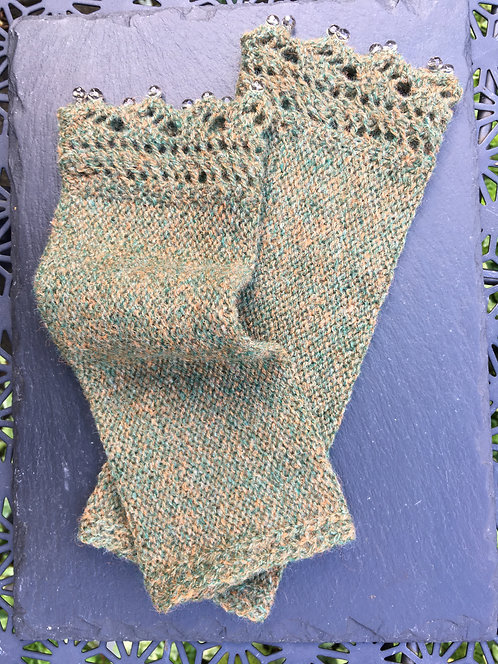 Khaki Beaded Wrist Warmers