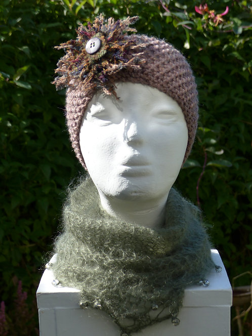 Grey/Green Headband with Light Green/Brown Trim