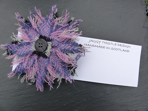 Purple Harris Tweed Pin