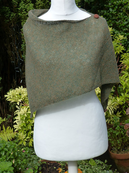 Green Knitted Wrap with Harris Tweed button trim