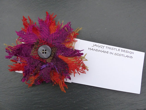 Orange and Purple Harris Tweed Pin