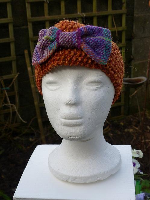 Rust Headband with Purple Harris Tweed Bow