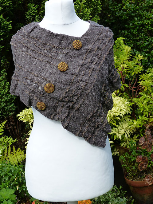 Grey Knitted Wrap with Harris Tweed Button Trim