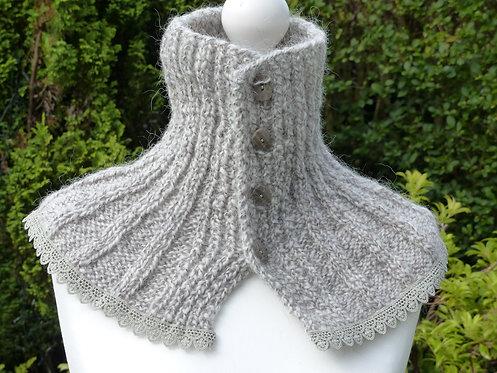 Beigh and Grey Wool Silk Collar