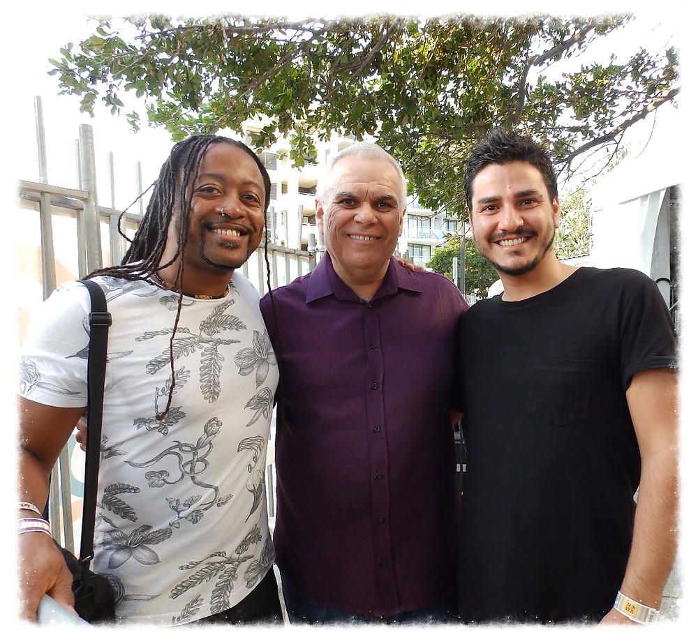 A pleasure to meet Tower Of Power's guitarist Jerry Cortez for the first time, lovely guy, flanked by Francisco Sales
