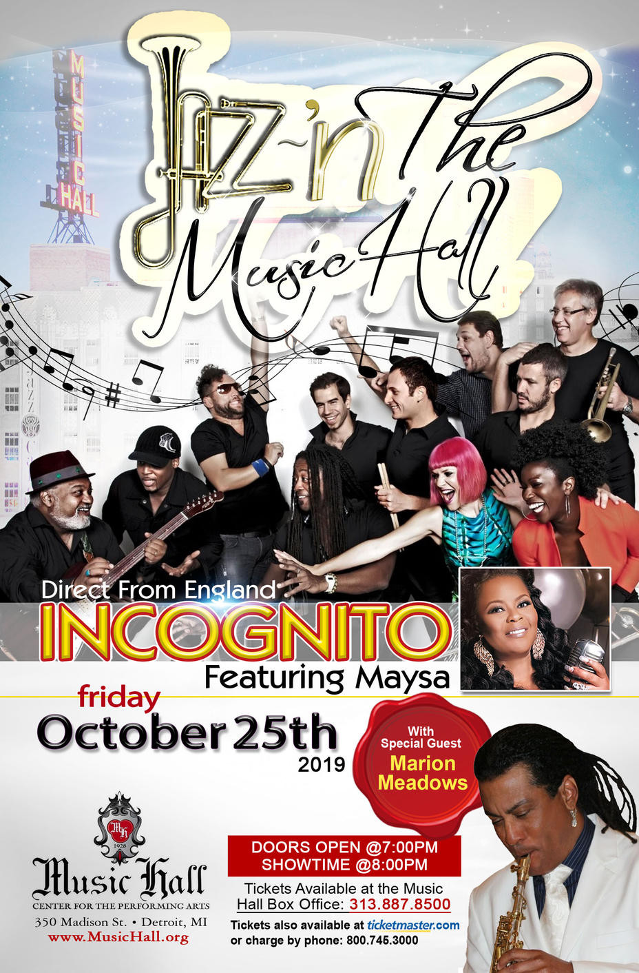 Incognito, Music Hall Detroit, 25th October 2019