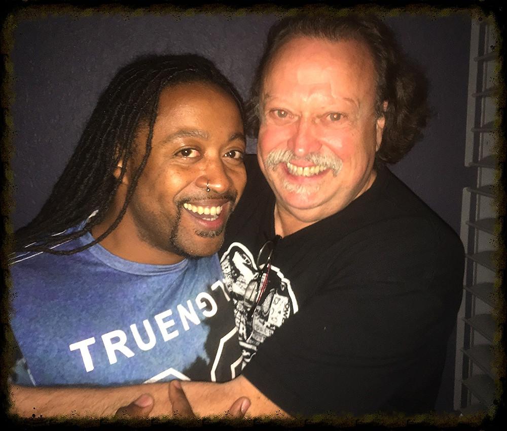 Late night man hug with birthday boy, ToP trumpeter Sal Cracchiolo