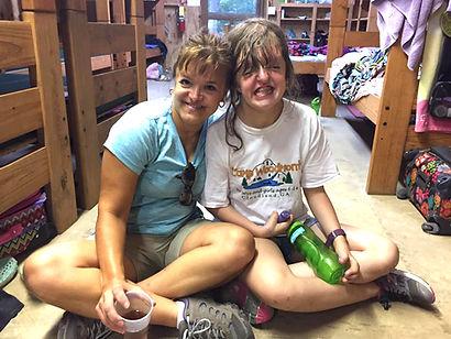 Ashley hugs camper Ashley