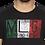 Thumbnail: Men's Black Printed Cotton Round Neck T Shirt