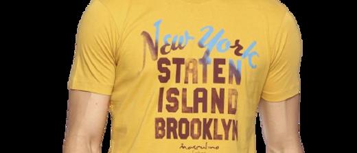 Men's Yellow Printed Cotton Round Neck TShirt