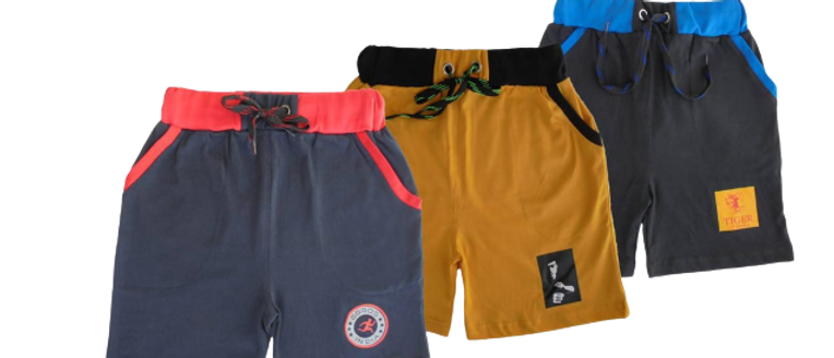 Stylish Multicoloured Cotton Printed Regular Shorts For Boys - Pack Of 3