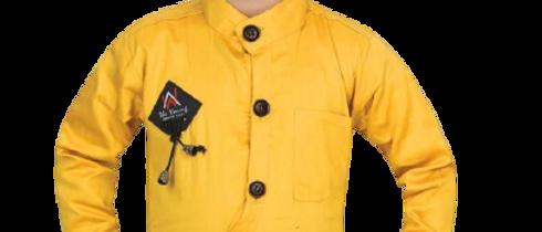 Stylish Cotton Blend Yellow Solid Mandarin Collar Full Sleeves Shirt For Boys