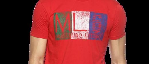 Men's Red Printed Cotton Round Neck Tees