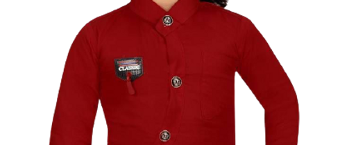Stylish Cotton Blend Maroon Solid Mandarin Collar Full Sleeves Shirt For Boys