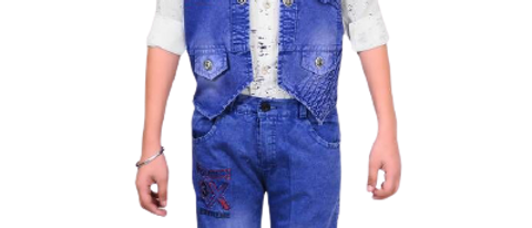 Alluring Blue Self Pattern Cotton Blend Waistcoat Shirt And Jeans For Boys