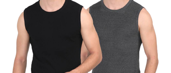 Men's Solid Round Neck Cotton Muscle Vest Pack of 2