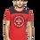 Thumbnail: Men's Red Printed Cotton Round Neck TShirt